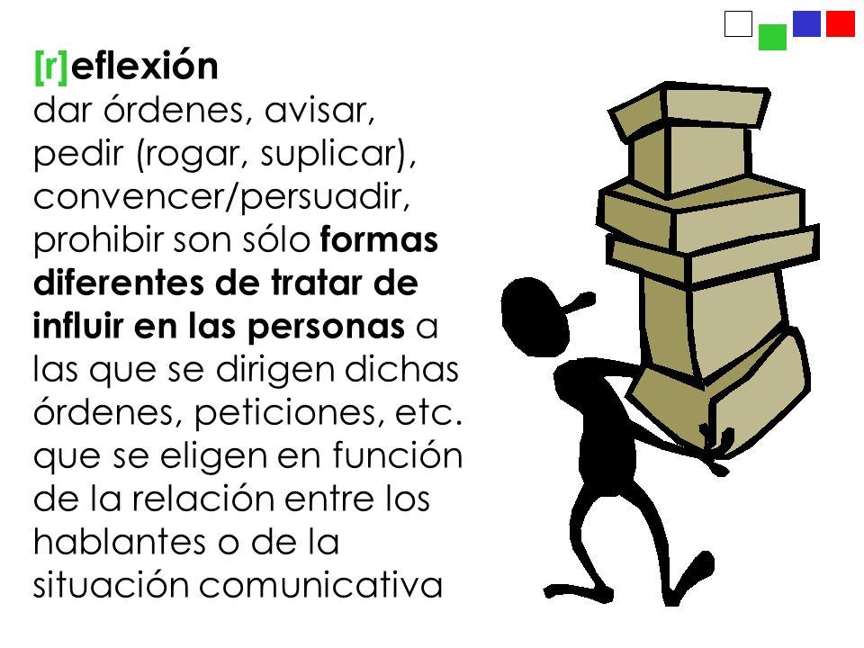 [r]eflexión dar órdenes, avisar, pedir (rogar, suplicar), convencer/persuadir, prohibir son sólo formas diferentes de tratar de influir en las personas a las que se dirigen dichas órdenes, peticiones, etc.